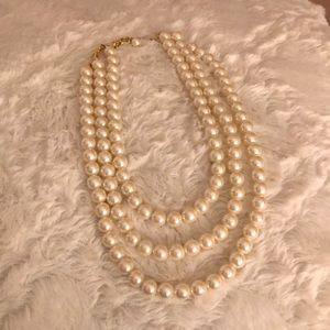 Layered Pearl Necklace with Gold Chain